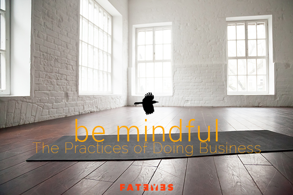 be mindful practice of doing business text on photo yoga mat in empty room