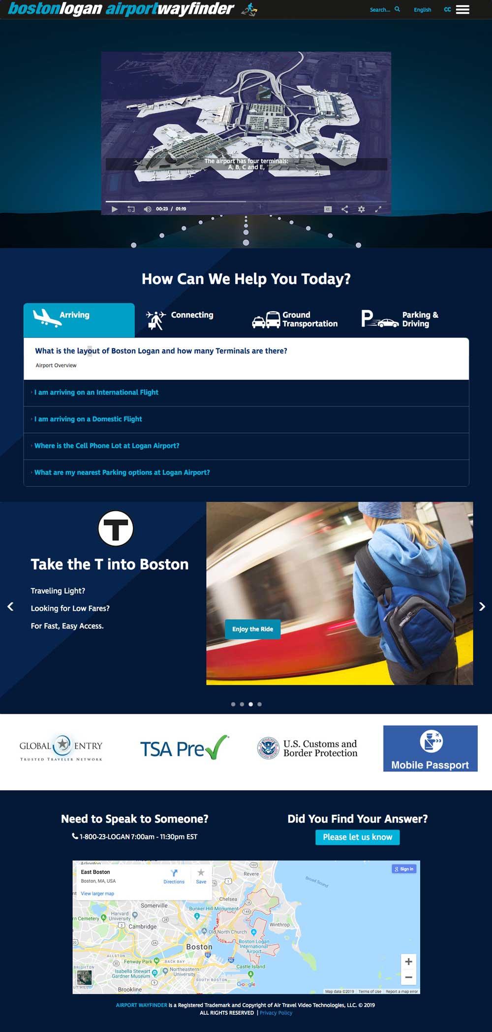 Boston Airport Wayfinder image for take the T into Boston